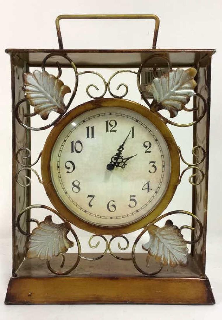 ELEMENTS Brown Metal Leaf Tabletop Clock