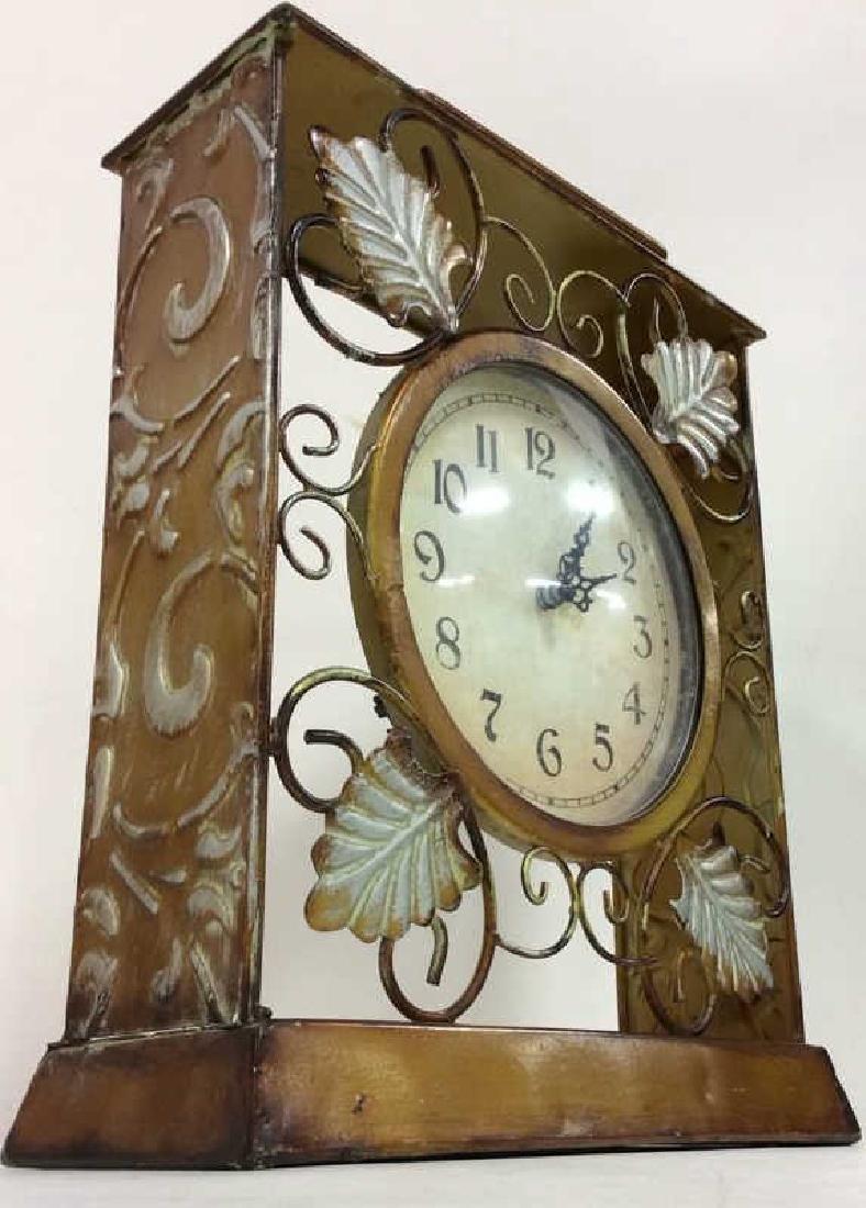 ELEMENTS Brown Metal Leaf Tabletop Clock - 2