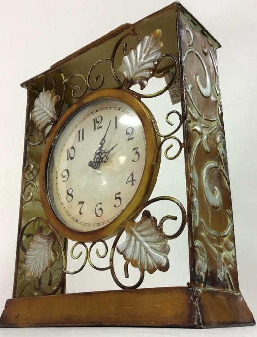 ELEMENTS Brown Metal Leaf Tabletop Clock - 3