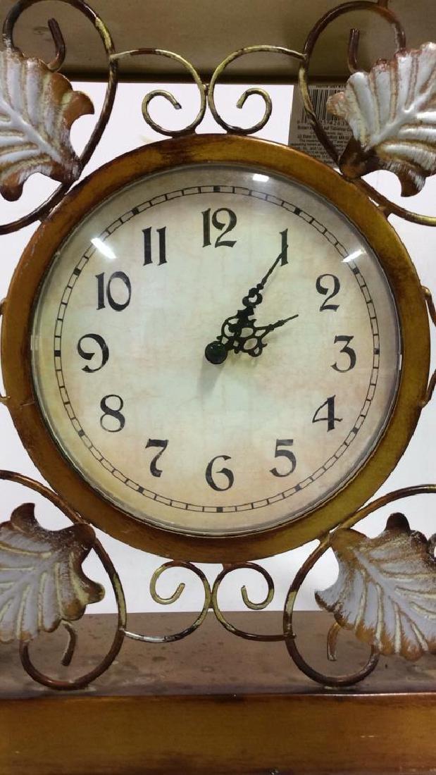 ELEMENTS Brown Metal Leaf Tabletop Clock - 4
