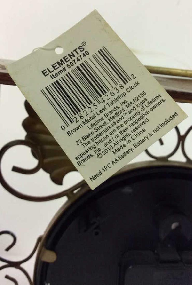 ELEMENTS Brown Metal Leaf Tabletop Clock - 7