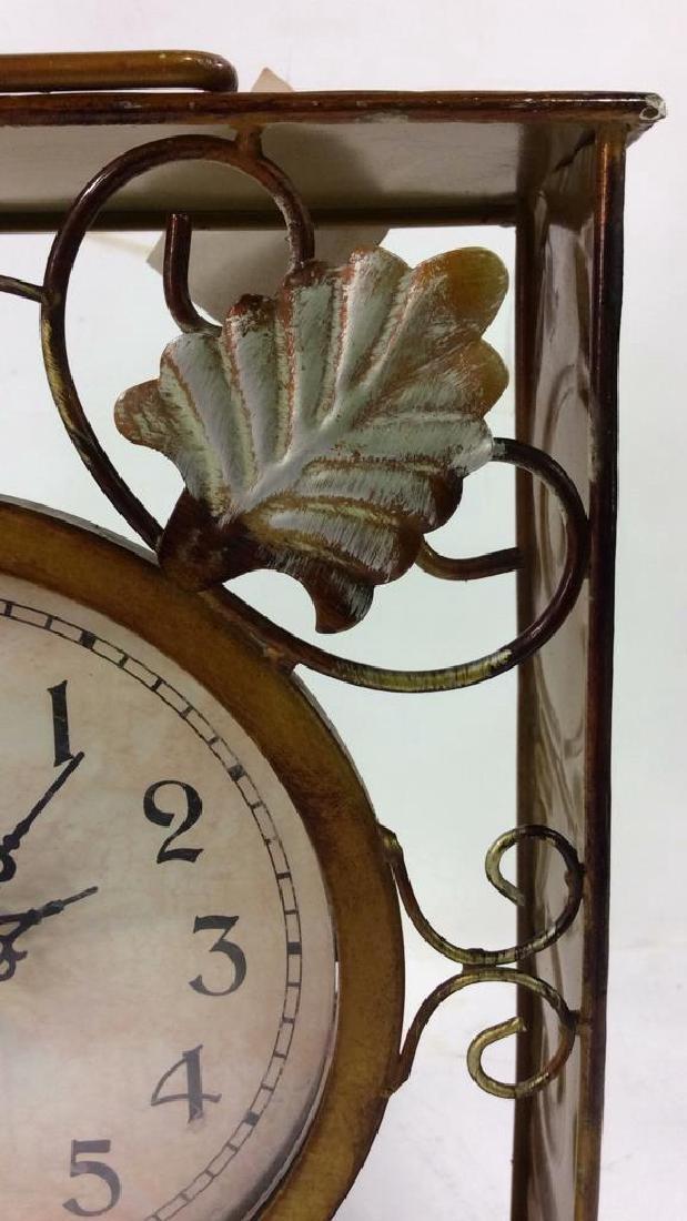 ELEMENTS Brown Metal Leaf Tabletop Clock - 8