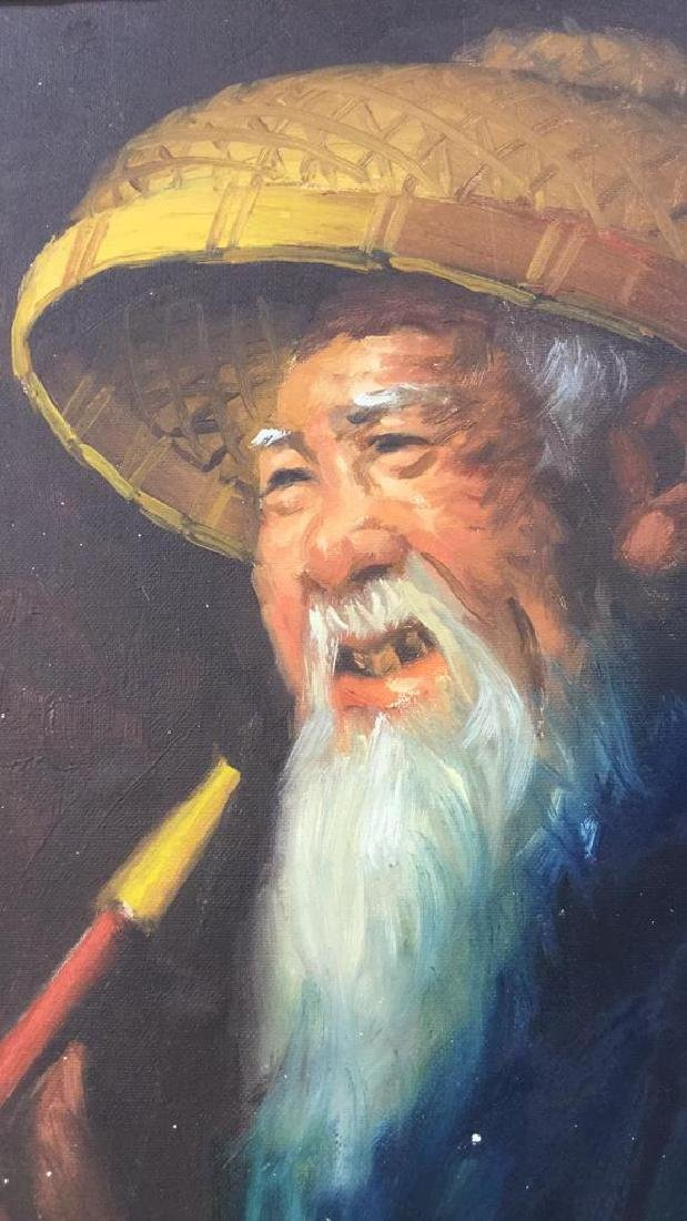 Portrait Painting Of Chinese Man And Pipe