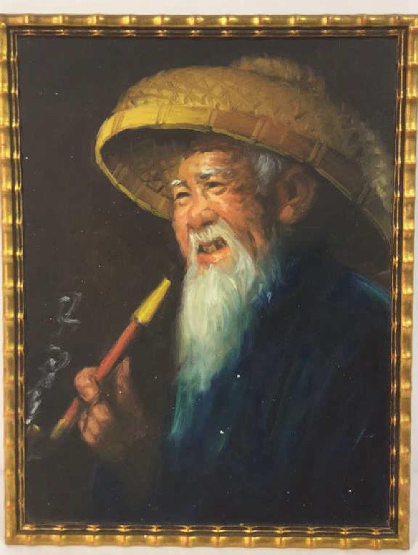 Portrait Painting Of Chinese Man And Pipe - 2