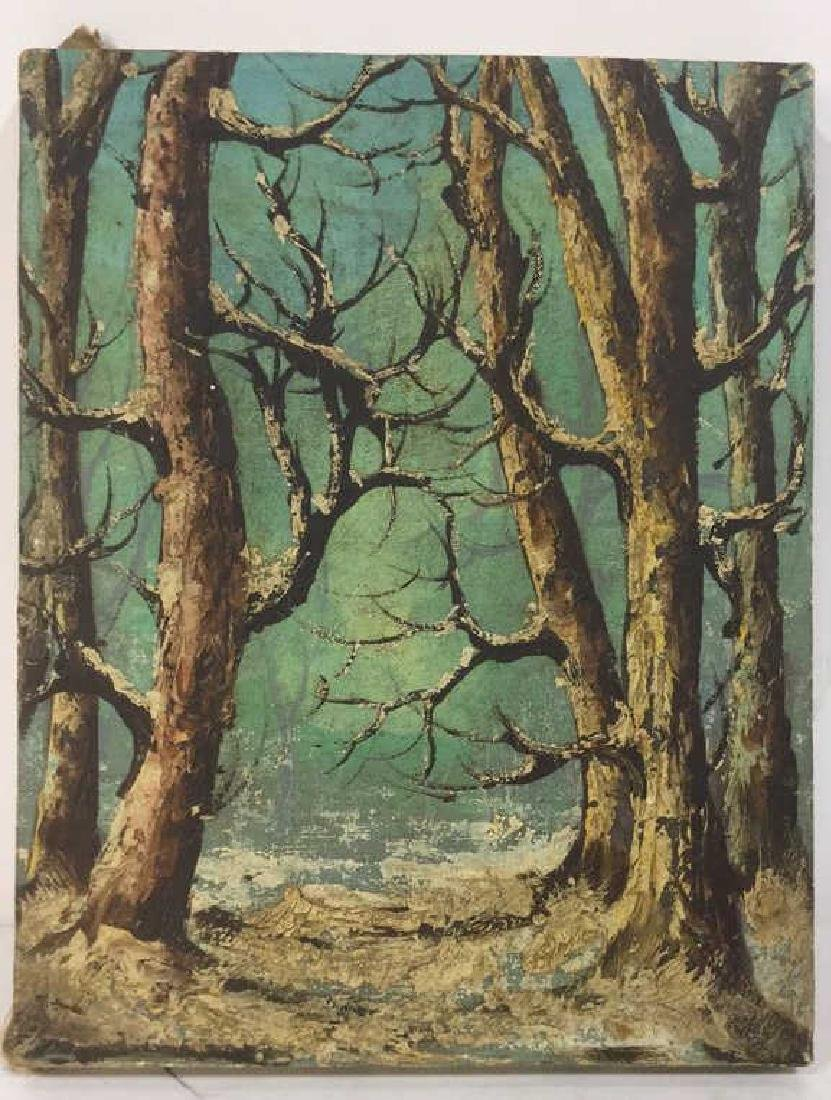 Vintage Winter Forest Painting On Canvas