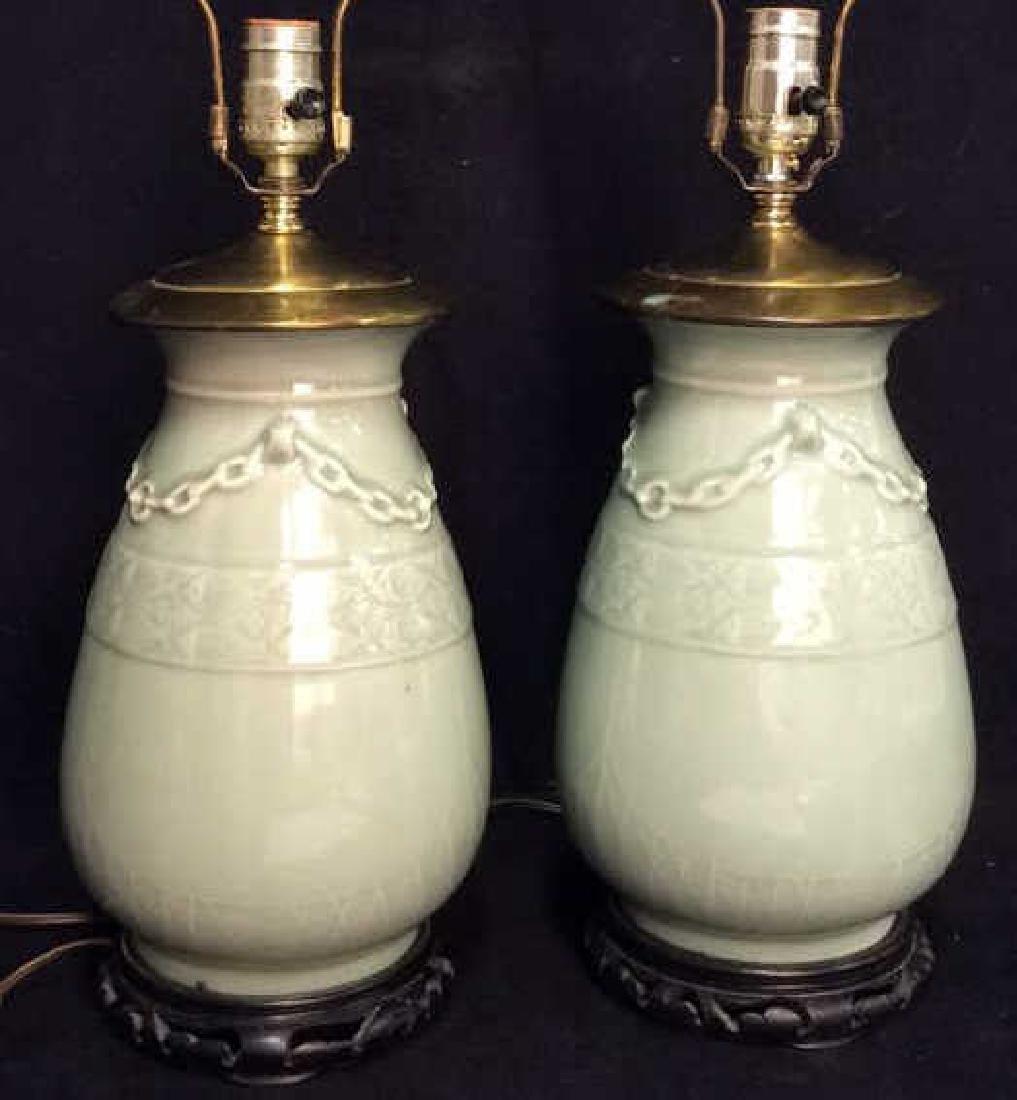 Pair Celadon Chinese Ceramic Table Lamps