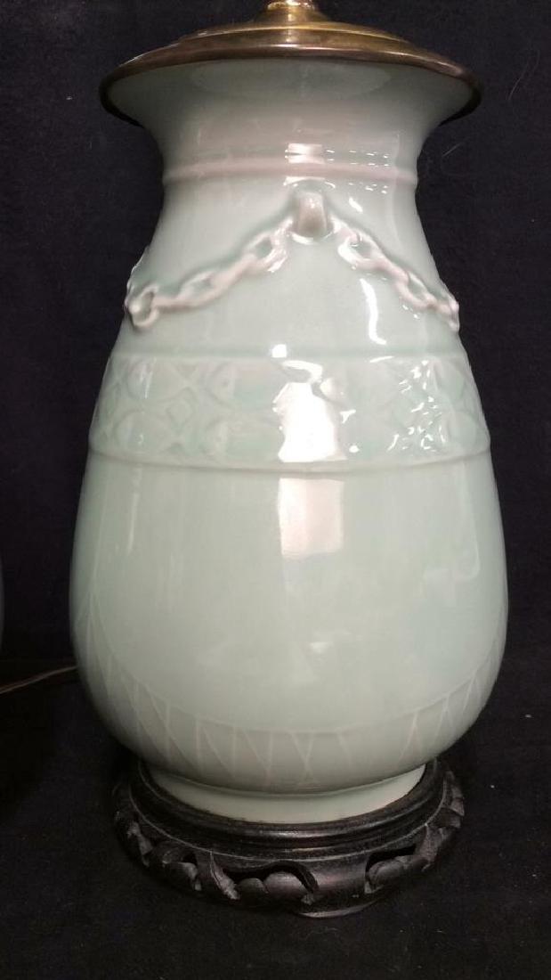 Pair Celadon Chinese Ceramic Table Lamps - 2