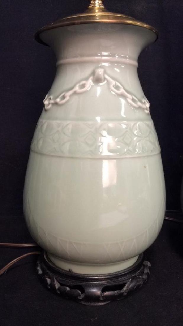 Pair Celadon Chinese Ceramic Table Lamps - 3