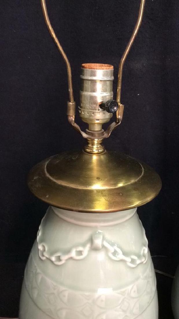 Pair Celadon Chinese Ceramic Table Lamps - 5