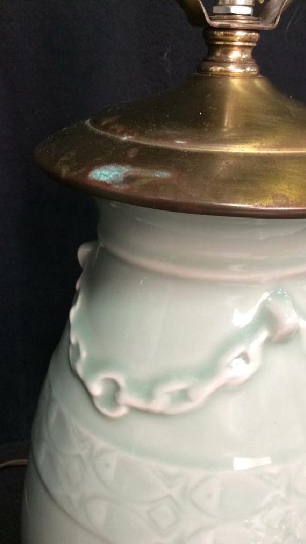 Pair Celadon Chinese Ceramic Table Lamps - 8