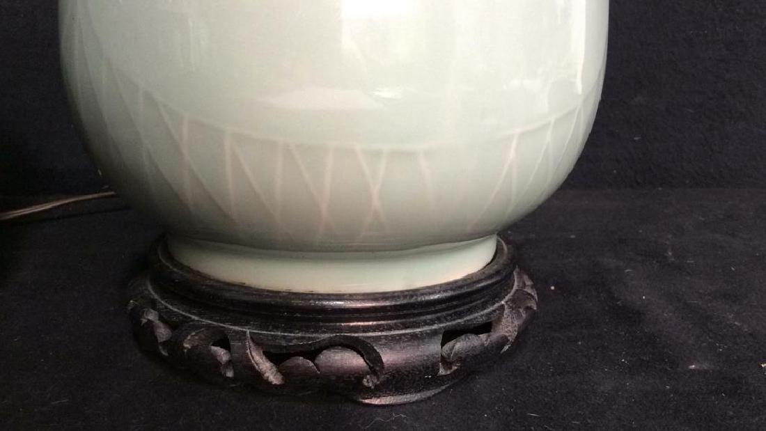Pair Celadon Chinese Ceramic Table Lamps - 9
