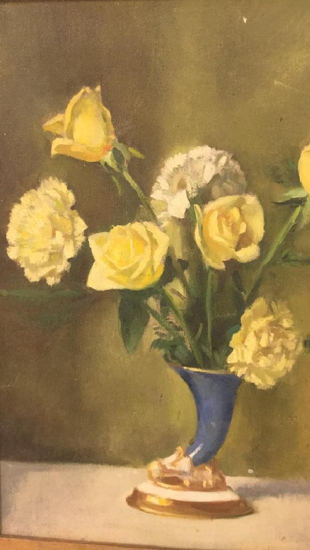 Vintage Framed Painting Of Flowers & Vase