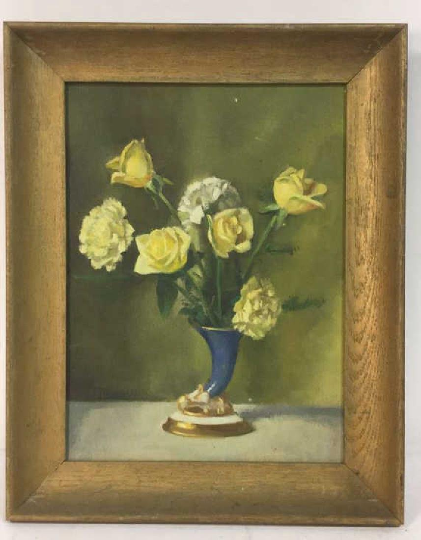Vintage Framed Painting Of Flowers & Vase - 2
