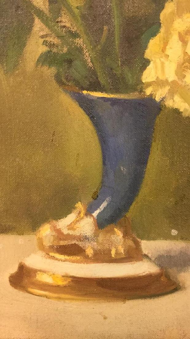 Vintage Framed Painting Of Flowers & Vase - 3