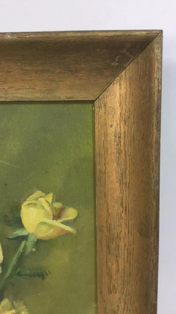 Vintage Framed Painting Of Flowers & Vase - 8