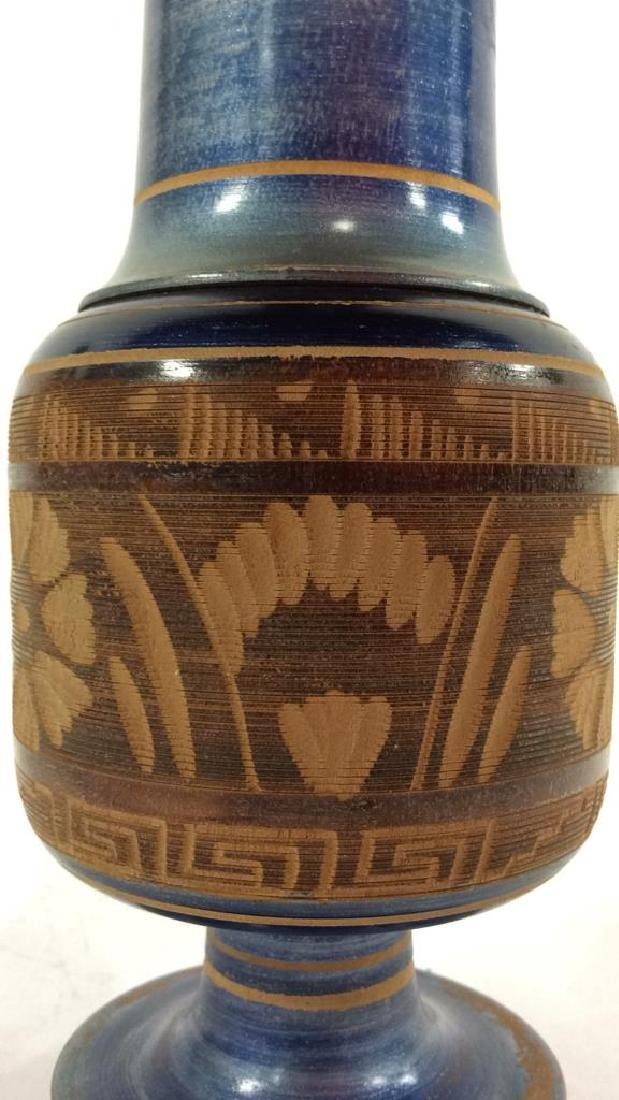 Carved Painted Stylized Wooden Vase - 5