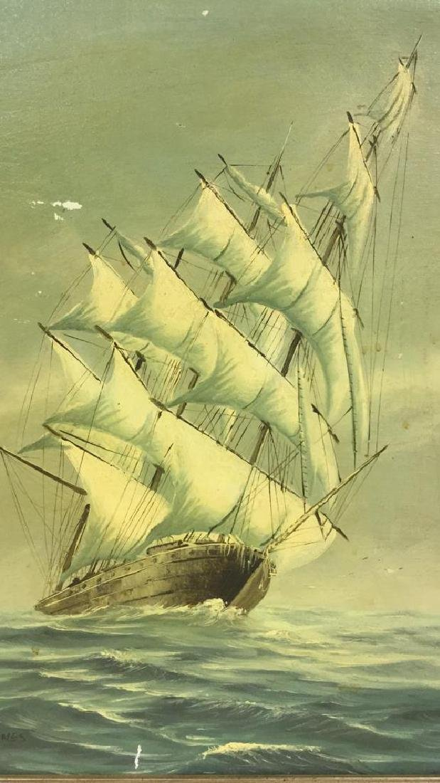 Vintage Sailboat Nautical Painting By Y. Jones