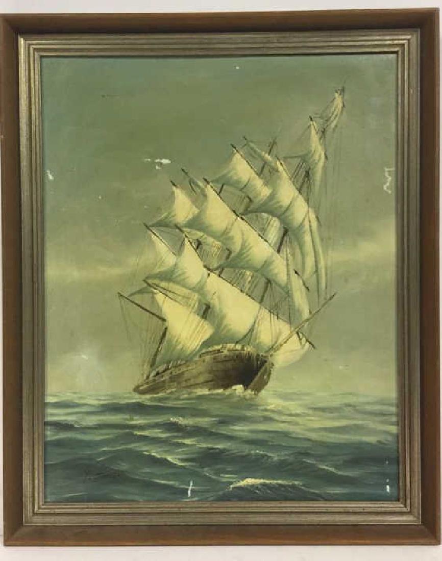 Vintage Sailboat Nautical Painting By Y. Jones - 2