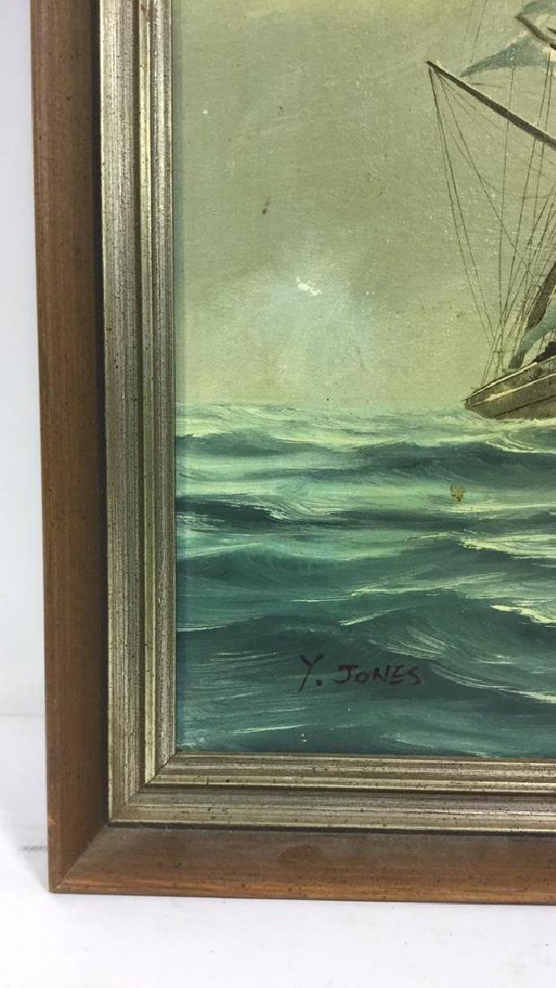 Vintage Sailboat Nautical Painting By Y. Jones - 3