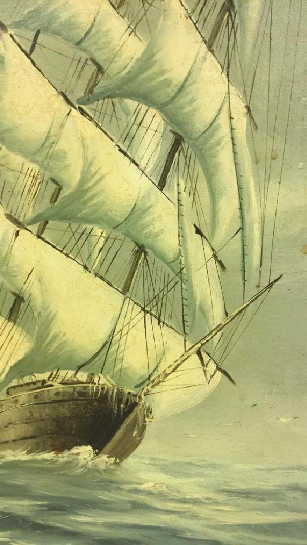 Vintage Sailboat Nautical Painting By Y. Jones - 5