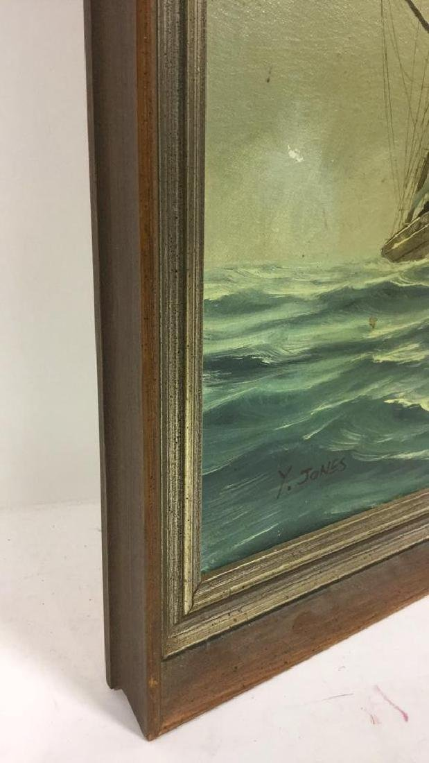 Vintage Sailboat Nautical Painting By Y. Jones - 8