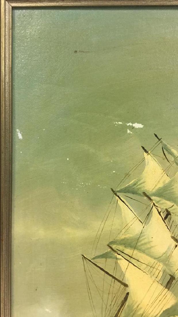 Vintage Sailboat Nautical Painting By Y. Jones - 9