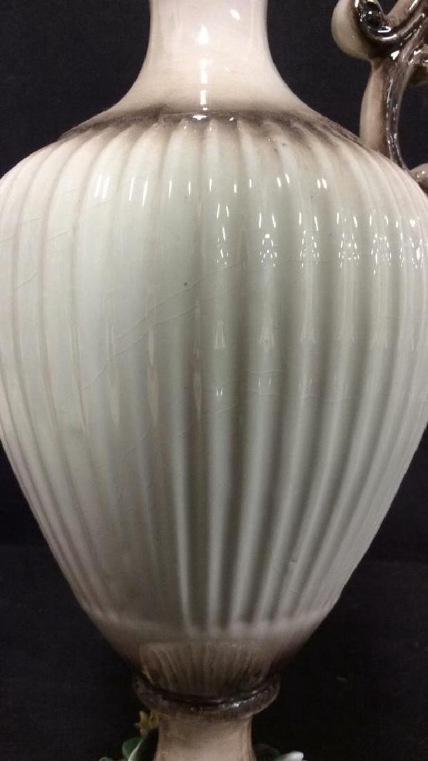 Ceramic Porcelain Capidimonte Floral Pitcher Vase - 10