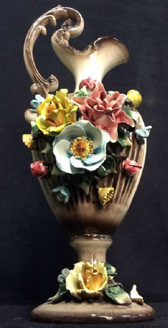 Ceramic Porcelain Capidimonte Floral Pitcher Vase