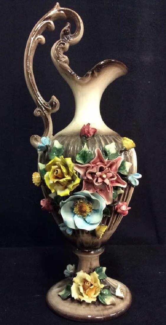 Ceramic Porcelain Capidimonte Floral Pitcher Vase - 2