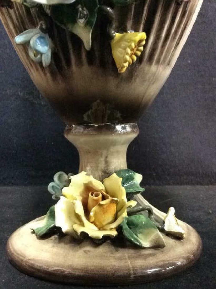 Ceramic Porcelain Capidimonte Floral Pitcher Vase - 5