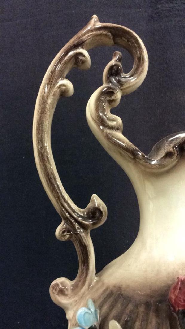 Ceramic Porcelain Capidimonte Floral Pitcher Vase - 6
