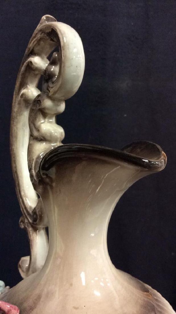 Ceramic Porcelain Capidimonte Floral Pitcher Vase - 7