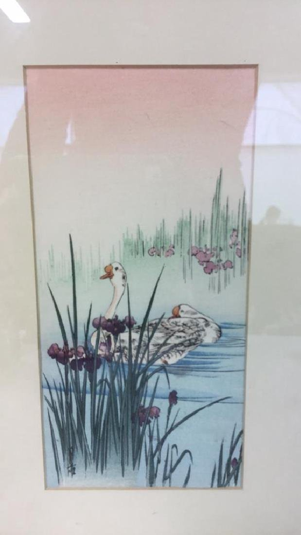 Japanese Style Watercolor Painting Of Swans