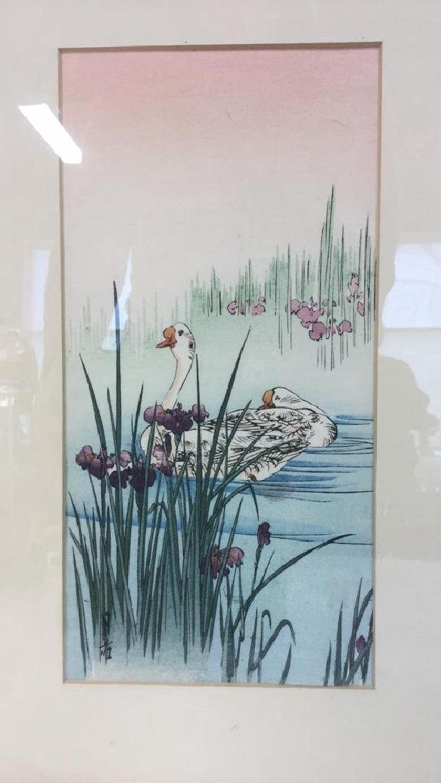 Japanese Style Watercolor Painting Of Swans - 2