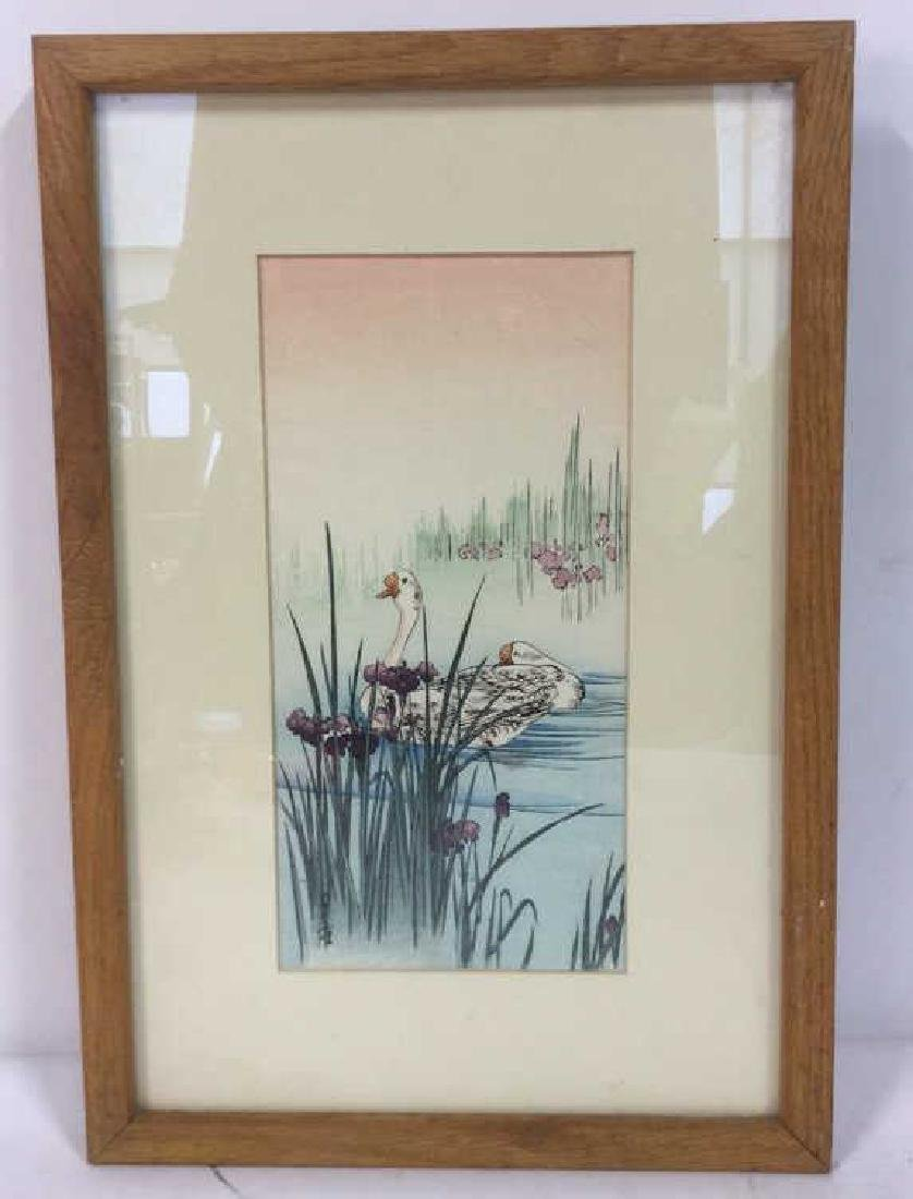 Japanese Style Watercolor Painting Of Swans - 3