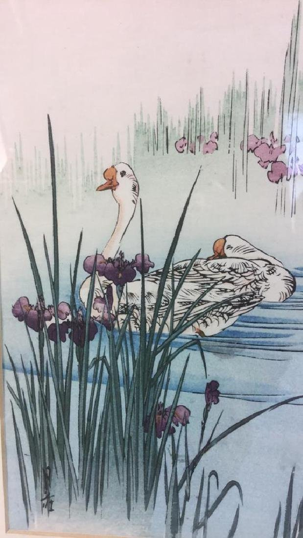 Japanese Style Watercolor Painting Of Swans - 5