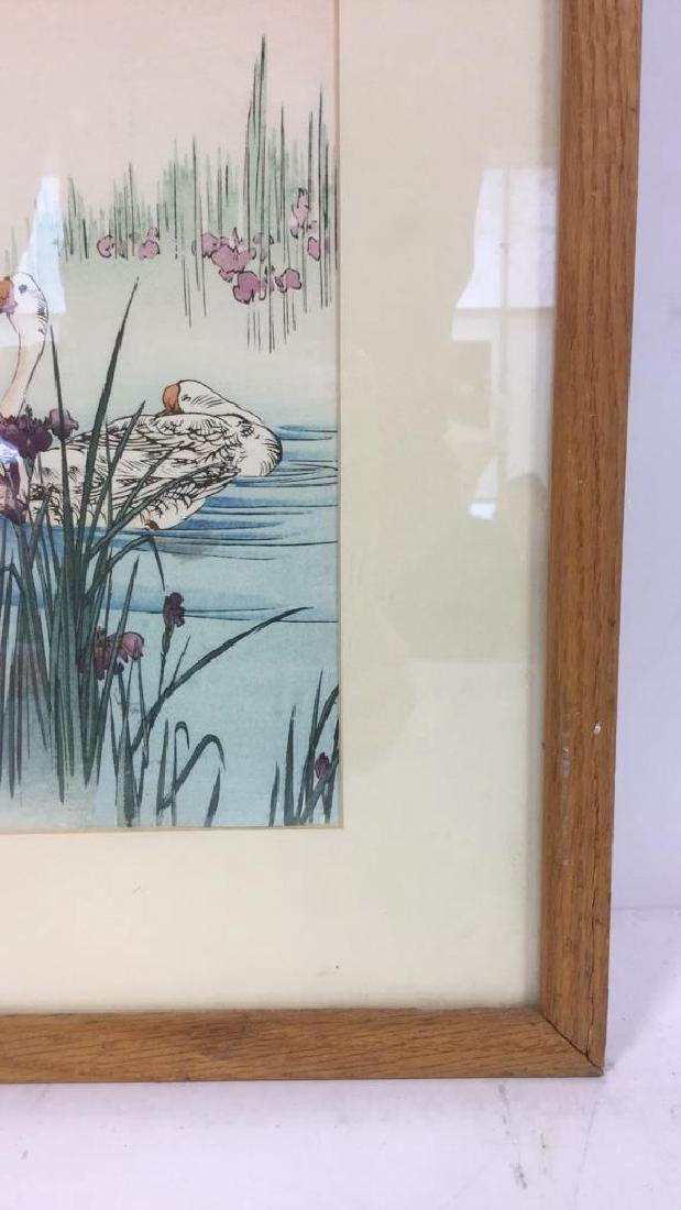 Japanese Style Watercolor Painting Of Swans - 7