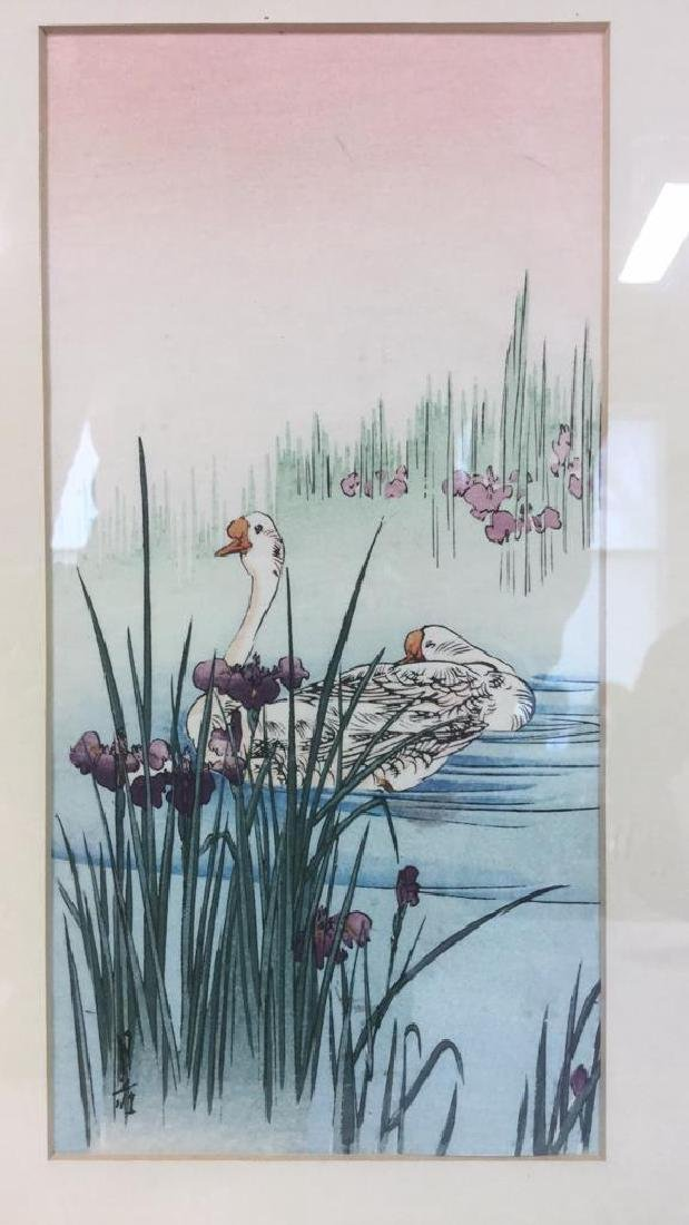Japanese Style Watercolor Painting Of Swans - 9