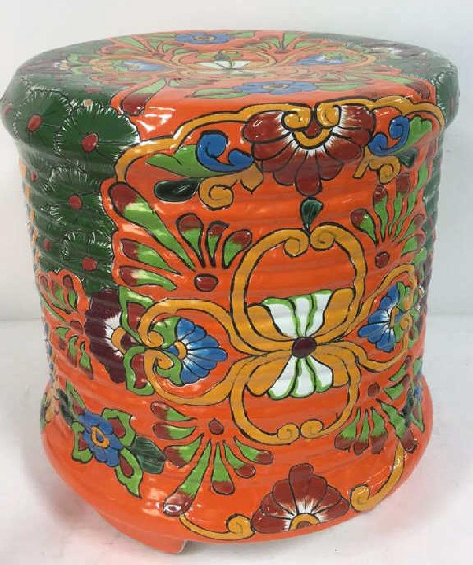 Vibrantly Painted Ceramic Mexican Foot Stool