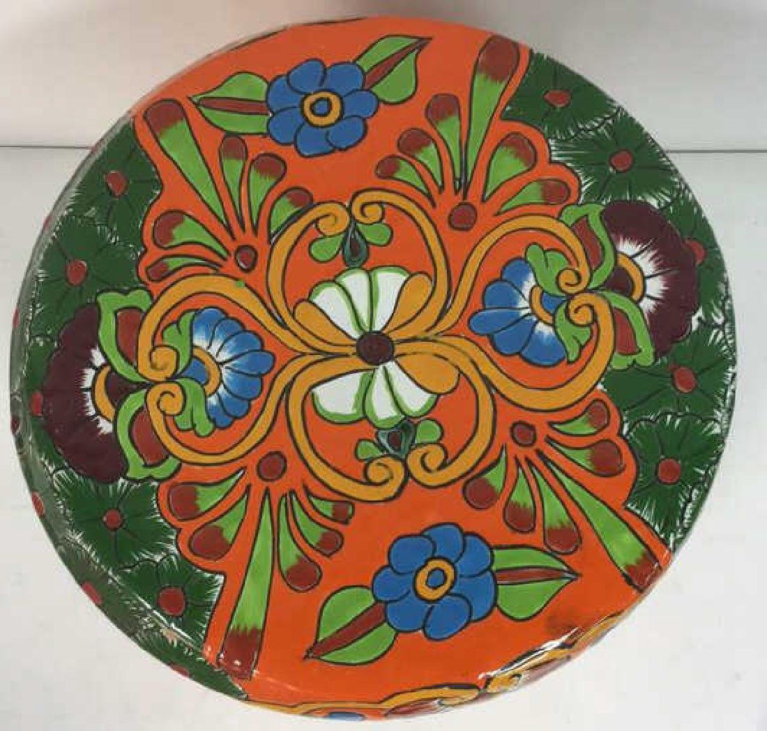 Vibrantly Painted Ceramic Mexican Foot Stool - 2