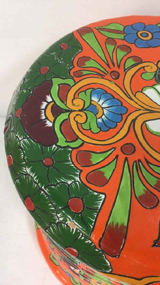 Vibrantly Painted Ceramic Mexican Foot Stool - 3