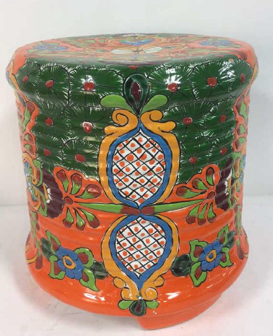 Vibrantly Painted Ceramic Mexican Foot Stool - 4