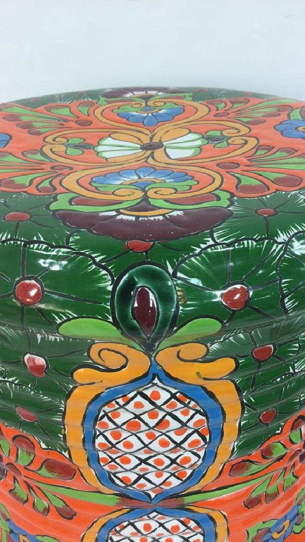 Vibrantly Painted Ceramic Mexican Foot Stool - 5