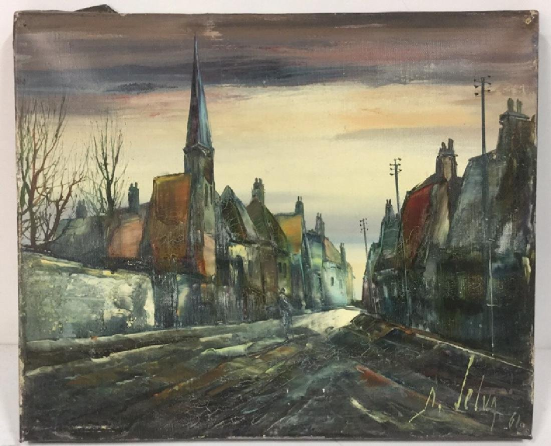 Vintage Painting Of A European Village