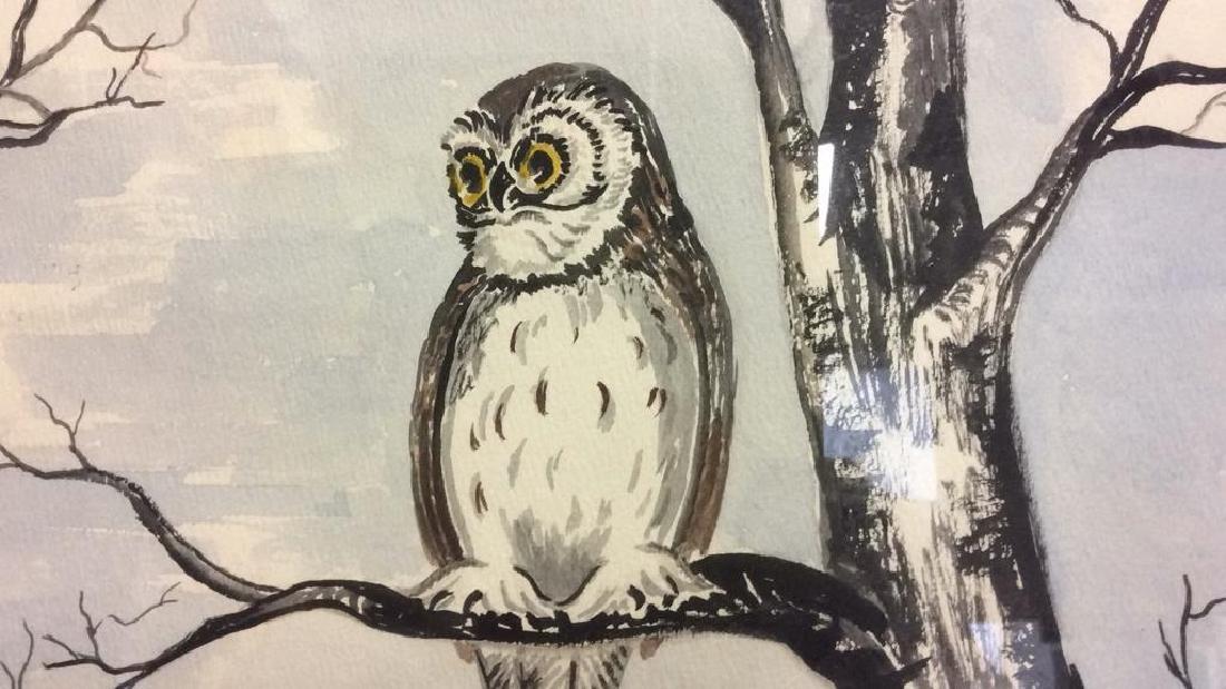 G. AINGE Framed Owl Artwork