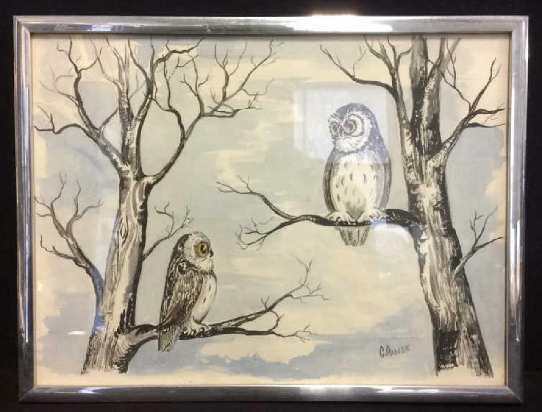 G. AINGE Framed Owl Artwork - 2