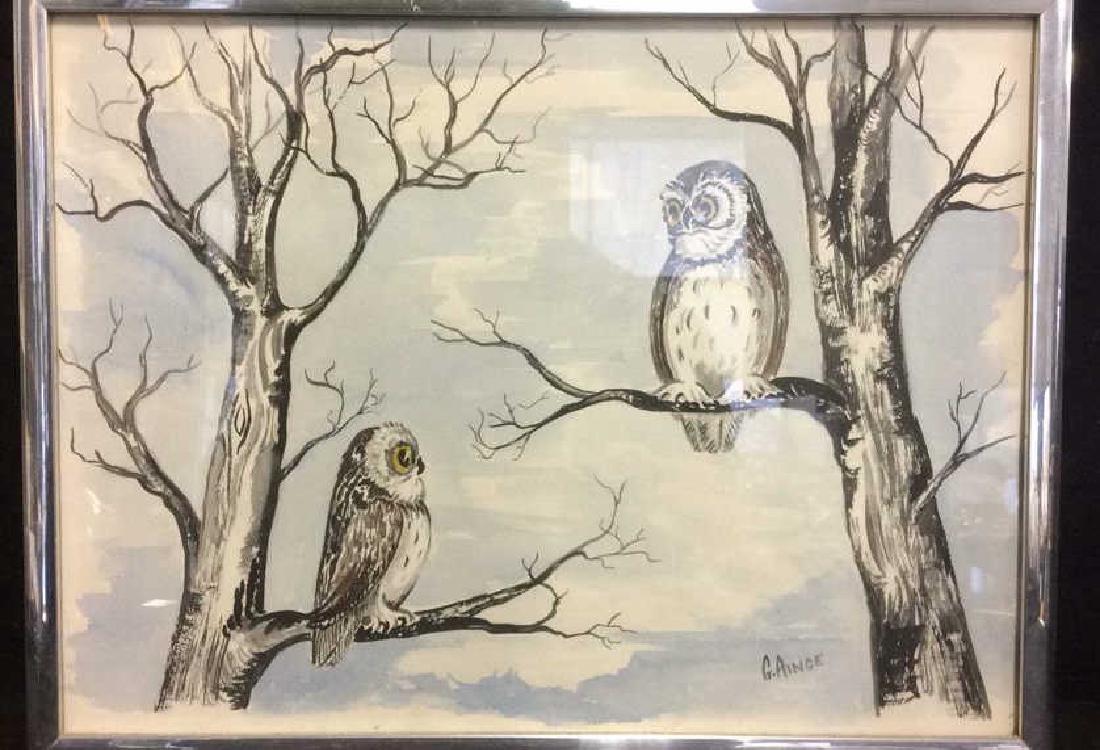 G. AINGE Framed Owl Artwork - 3