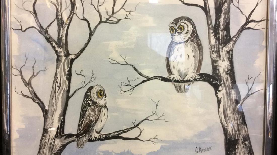 G. AINGE Framed Owl Artwork - 4