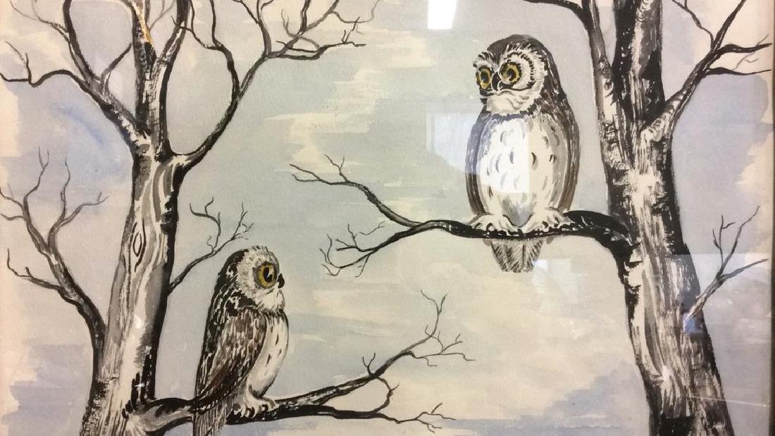 G. AINGE Framed Owl Artwork - 5