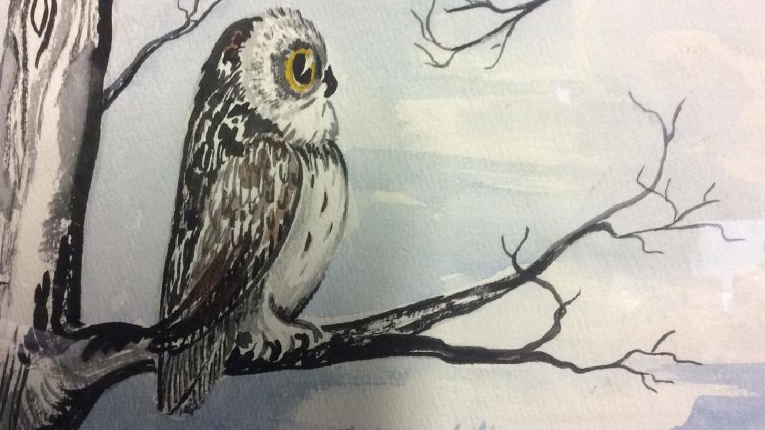 G. AINGE Framed Owl Artwork - 6